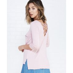 Heart & Hips  Zip Pocket Tee With Crisscross Back ($15) ❤ liked on Polyvore featuring tops, t-shirts, rose, wet seal, pink t shirt, scoop-neck tees, knit tee, rose t shirt and knit top