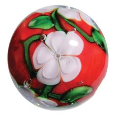 """Glass """"Chrysanthemum"""" Marble - 22 mm - Handmade Art Glass by House of Marbles Comes with a ring style, stainless steel, display stand. Impressive in detail & beautiful to behold. This .875 inch shoote"""