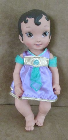 "Baby Princess Jasmine Baby Disney Store hard body doll 12"" Aladdin toddler #Disney"