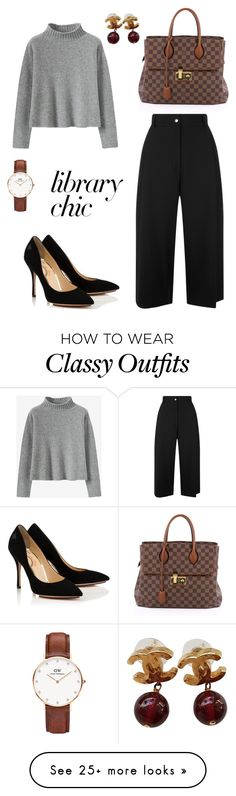"""Library chic "" by mmelissaa on Polyvore featuring Public School, Louis Vuitton, Daniel Wellington and Chanel"