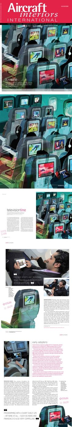 Eva Tatcheva was comisioned to produce the front cover and inside illustrations for Aicraft Interios International Magazine.  The feature focuses on Inflight entertainment and Live TV.