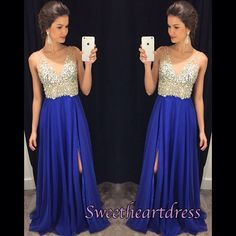 Elegant v-neck blue chiffon prom dress with sequins top, homecoming dress, prom dresses for teens #coniefox