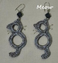 Crocheted Cat Earrings  OK, I wouldn't make these as earrings but they would be cute ornaments!!