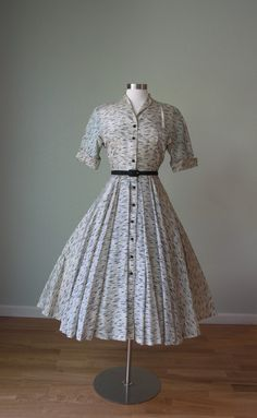 1950s Circle Skirt Dress // Rayon Dress // by KittyGirlVintage