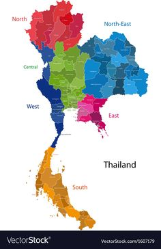 Vector Stock Images, Royalty-Free Images vectors for personal and commercial use. Map of Kingdom of Thailand with the provinces colored in bright colors South Africa Map, Netherlands Map, Oregon Map, Tennessee Map, Washington Map, China Map, North America Map, Thailand Photos, Cards