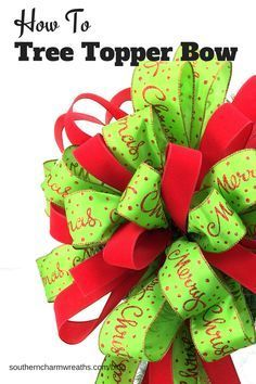 to Make a Tree Topper Bow Video: How to make a full two ribbon Christmas Tree Topper Bow by Julie Siomacco of Southern Charm Wreaths.Video: How to make a full two ribbon Christmas Tree Topper Bow by Julie Siomacco of Southern Charm Wreaths. Ribbon On Christmas Tree, Christmas Bows, Christmas Tree Toppers, White Christmas, Christmas Decorations, Christmas Ornaments, Holiday Wreaths, How To Make Christmas Tree Bow Topper, Christmas Movies