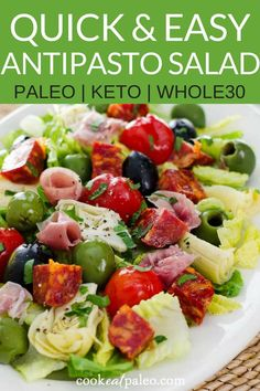 This easy antipasto salad is perfect for a quick no-cook lunch or weeknight dinner. It's a healthy recipe that can be pulled together in just a few minutes! This recipe is and Recipes paleo Antipasto Salad with Easy Italian Dressing Lunch Recipes, Paleo Recipes, Dinner Recipes, Paleo Food, Cena Paleo, Antipasto Salad, Antipasto Platter, Clean Eating, Paleo Dinner