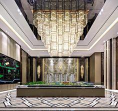 Modern Design and Living Lobby Interior, Interior Exterior, Floor Design, Ceiling Design, Hotel Lobby Design, Villas, Luxury Chandelier, Counter Design, Restaurant Lighting