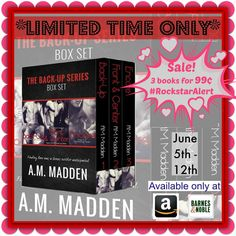 BOOK SALE & TRAILER: The Back-Up Series Box Set (Books 1-3) by A.M. Madden - #RockstarAlert - 99¢ Sale! - iScream Books