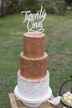 Bronze Confetti Cake. Twenty first & Wedding Cake by Sweet Bakes www.facebook.com/sweetbakess