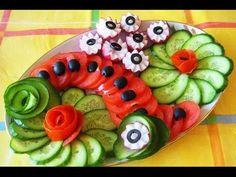 Украшения из овощей. Украшения из огурца. Как красиво нарезать огурец. Decoration of vegetables - YouTube