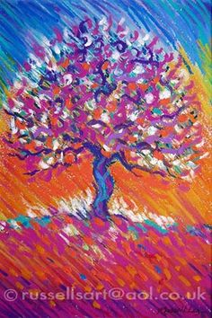 oil pastel drawings | Russell Lee - Painting, Art & Design: Tree Of Life - Pastel (sold)