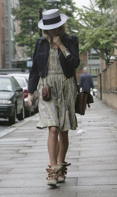 #siennamiller hat, denim jacket, dress, cross body bag, boots.
