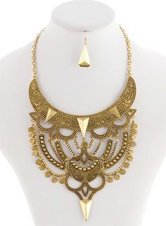 On the back of the belt - Theda Tribal Costume Necklace and Earring Set - GOLD