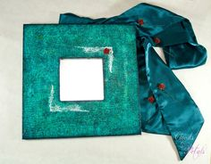 Art Nouveau Decorative Mirror in Turquoise with White ornament