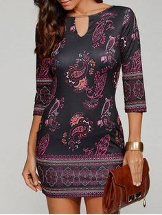 GET $50 NOW | Join RoseGal: Get YOUR $50 NOW!http://m.rosegal.com/bodycon-dresses/keyhole-neck-paisley-dress-800794.html?seid=7342484rg800794
