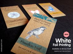 Brown Kraft with White Foil Printing cards – now available at Jukeboxprint.com. Beautiful!