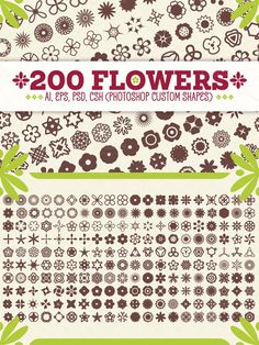 200 Flowers - Vector Shapes/Silhouettes/Symbols A set of vector flowers that can be used in any project for decorations. Just rotate, scale and color the shapes Photoshop Shapes, Vector Flowers, Vector Shapes, Your Design, Symbols, Vectors, Projects, Backgrounds, Color