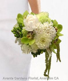 white and green wedding flowers | ... Gallery - Anaheim, CA : Green and White Contemporary Wedding Bouquet