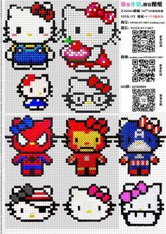 Hello Kitty perler bead patterns                                                                                                                                                                                 More
