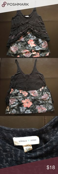 """Anthropologie Black Ruffled Tank Black tank has five layers of ruffles and Lace over a pink/purple/gray Flowered bottom. Measures 15""""inches armpit to armpit and 24""""inches long. 100% viscose. Anthro Brand-Silence + Noise Anthropologie Tops Tank Tops"""