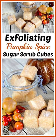 Exfoliating Pumpkin Spice Sugar Scrub Cubes- These exfoliating pumpkin spice sugar scrub cubes are such a wonderful way to pamper your skin this fall! They also make a great DIY gift!