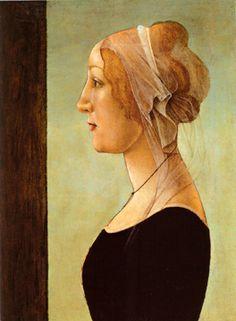 Profile Portrait of a Woman by Sandro Botticelli, 15th century.  https://www.artexperiencenyc.com/social_login/?utm_source=pinterest_medium=pins_content=pinterest_pins_campaign=pinterest_initial