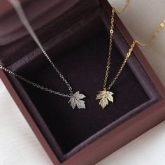 Excited to share this item from my shop: Maple Leaf Necklace 925 Sterling Gold/Silver Dainty Charm Pendant Adustable Length Necklaces Gift for Her Gold Jewelry Simple, Stylish Jewelry, Cute Jewelry, Silver Jewelry, Jewelry Design Earrings, Jewelry Accessories, Fashion Necklace, Fashion Jewelry, Leaf Necklace