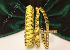 Chain and Sideways Cross Bracelet in Sunshine by missji1203, $20.00