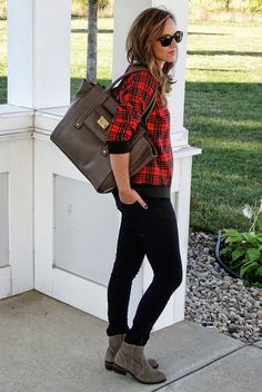 effortless plaid shirt, ankle boots