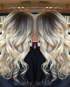 Stretched root bright blonde balayage ombre Hair by Rachel Fife @ Sara Fraraccio Salon in Akron, Ohio