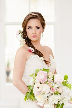 Southern Savvy Events | Southern With A Twist | Separk Mansion Wedding | Wedding Bouquet | Bride's Bouquet | Peony | Ranunculus | Full Bouquet | Lush Bouquet | Hair Flowers | Floral Details | Wedding Gown | Bride's Style | Bride Accessories | Wedding Inspiration | Wedding Design
