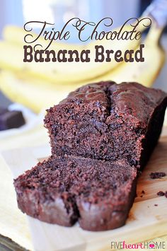 Triple Chocolate Banana Bread ~ loaded with chocolate, this will be your family's new favorite way to use up overripe bananas! | FiveHeartHome.com