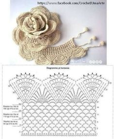 22 Easy Crochet Flowers For Be Filet Crochet, Crochet Diagram, Crochet Chart, Crochet Motif, Irish Crochet, Patron Crochet, Crochet Blouse, Crochet Puff Flower, Crochet Flower Patterns