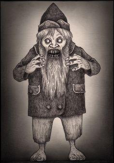 John Kenn — Domovoi discovered by kristen. Monster Tattoo, Monster Drawing, Monster Illustration, Type Illustration, Illustrations, Demon Art, Don Kenn, Post It Art, Creepy Monster