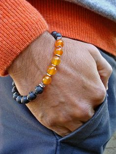 Men's Spiritual Protection, Good Fortune, Love Bracelet with Semi Precious Carnelians, Hematites, Matte Onyx, Bali Bead - Love Man Bracelet