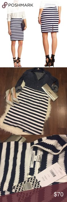 """DVF Walda Navy White Stripe Pencil Skirt NWT 12 New with tags ▪️ unlined ▪️ cotton ▪️ 16"""" across waistband ▪️ 20.5"""" across hip ▪️ 23.5"""" length ▪️ price firm unless bundled Diane von Furstenberg Skirts Pencil"""