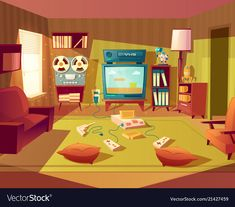 Buy Vector Cartoon Retro Room with Video Games by vectorpocket on GraphicRiver. Vector illustration of cartoon living room at Video games, VHS recorder for children. Anime Backgrounds Wallpapers, Anime Scenery Wallpaper, Blue Backgrounds, Cartoon Background, Animation Background, Background Banner, Vector Background, Casa Anime, Desenhos Love
