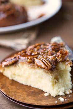 Pecan Pie Upside-Down Cake Recipe - great alternative to pie for Thanksgiving dinner and dessert!