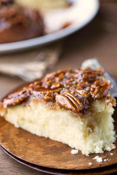 Pecan Pie Upside-Down Cake Recipe - great alternative to pie for Thanksgiving dinner and dessert!