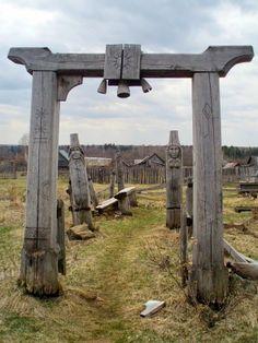 Totem poles of Udmurtia. Udmurt Republic, Russia.