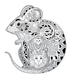 Free coloring page coloring-adult-animals-mouse. Drawing of a mouse, with interesting details