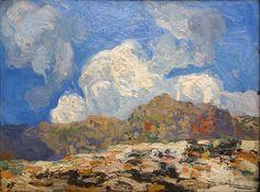 Hermenegildo Anglada Camarasa | Paisaje con nubes | s.f. | Óleo sobre tabla | 37 x 49 cm