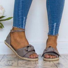 182da85a7 Women Sandals Plus Size 35-44 Flat Sandals Fashion Bowknot Summer Shoes  Women Peep Toe Casual Shoes Buckle Strap Sandales Femme