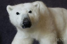 Needle felted polar bear soft bear by MinzooNeedleFelting on Etsy