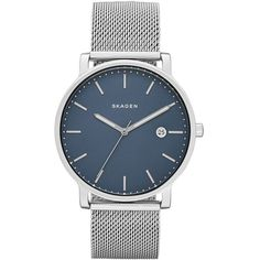 Skagen Hagen Round Mesh Strap Watch, 40Mm (£130) ❤ liked on Polyvore featuring jewelry, watches, round watches, skagen jewelry, round dial watches, skagen and dial watches