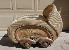 Vintage Cream Wicker Baby Stroller Buggy with Metal Fenders Spring Suspension | eBay