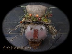 ~★Primitive Fall Grunged Scarecrow Head★Sitter on Old Rusted Tin Can★~ooak