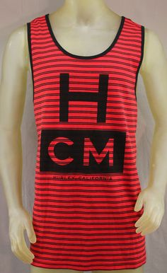 182326dc4f9d3 Hurley red tank top with black stripes and logo Mens Name Brand Shirts