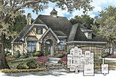 New Cottage Plan #1319 - The Lucerne - Now Available! http://www.dongardner.com/plan_details.aspx?pid=4530 This small home plan is stylish and practical, with its European-inspired exterior and modern layout. 3 beds, 2 baths, 1,828 sq. ft. #European #Cottage #Home #Design